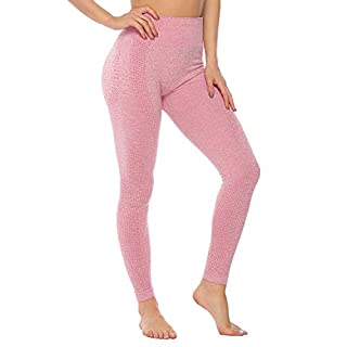 Women's High Waist Workout Pants Gym Seamless Leggings Tummy Control Butt Lift Yoga Pants (Pink, Medium)