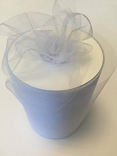 Glitter Tulle - Tulle Fabric Spool/Roll 6 inch x 100 yards (300 feet), 34 Colors Available, On Sale Now! (white)