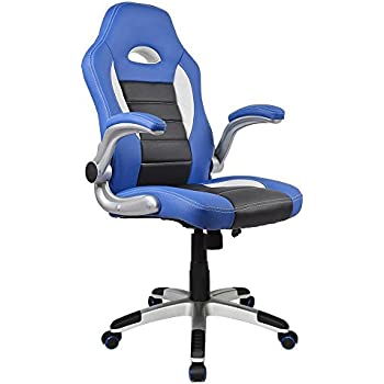 Homall Racing Chair Ergonomic High-Back Gaming Chair PU Leather Bucket Seat,Computer Swivel Lumbar Support Executive Office Chair (Blue)