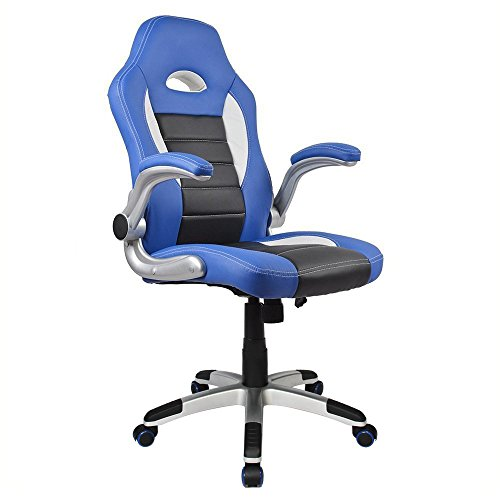 Homall Executive Swivel Leather Office Chair, Racing Chair High-back Gaming Chair Pu Leather and Mesh Bucket Seat,computer Swivel Lumbar Support Chair (Blue/black)