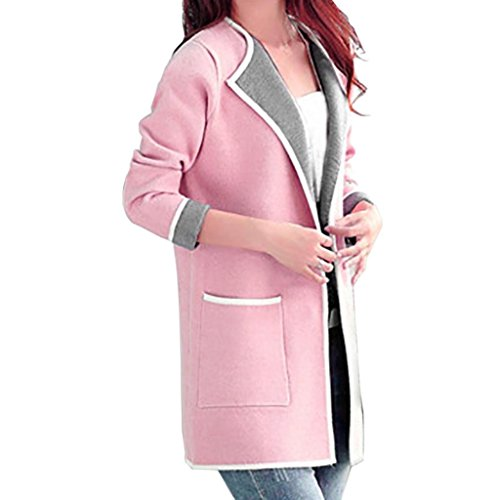 (Transer Women Plus Size Loose Top Hit color Long Cardigan Lapel Collar Trench Coat Jacket (4XL, Pink))