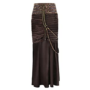 Charmian Women's Steampunk Gothic Victorian Ruffled Satin High Waisted Skirts
