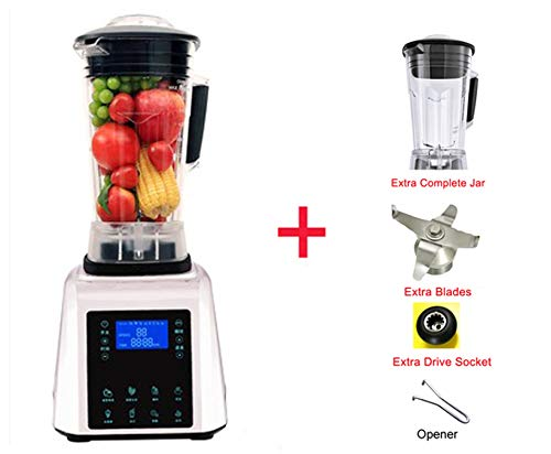 Digital Touchpad Timer 3Hp Bpa Free Automatical Professional Smoothies Power Blender Food Heavy Duty Smart Program Mixer Juicer,White Extra Jar Part,Au Plug