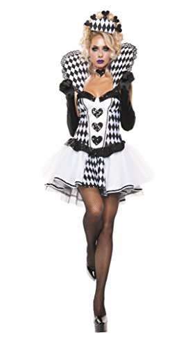Starline Women's Chess Queen 3 Piece Cosplay Costume Dress Set, Black/White, X-Large
