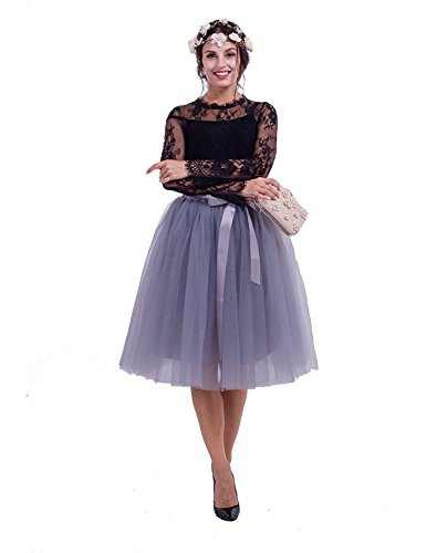 6 Layer 25.6inch Length Women's High Waist Elastic Princess A Line Midi/Knee Length Tulle Skirt Bowknot Layered Tulle Party Skirt (Gray)