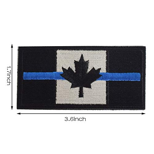 SHELCUP 2 Pieces Thin Blue Line Canada Flag Canadian Maple Leaf Tactical Morale Patches Military Emblem