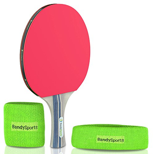 Premium Ping Pong Paddle Racket with Sweat Head/Wrist Bands Set, Professional 5 Star Table Tennis Bat Comfort Grip Blade, High Performance 2.0 mm Sponge Soft Rubber with Carry Case by BandySports