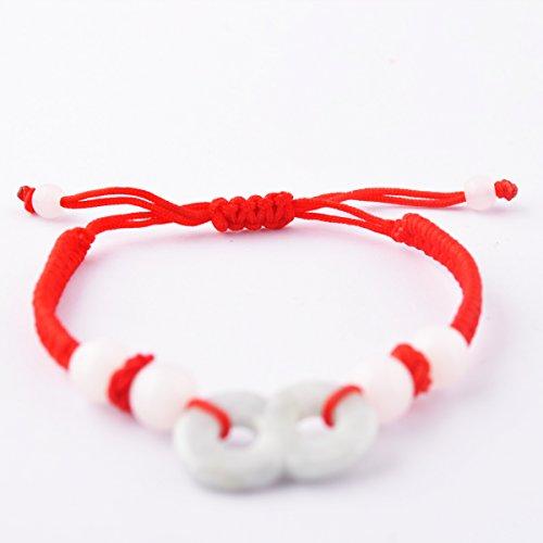 Feng Shui Red String Bracelet with Jade 8 for Good Fortune & Wealth Luck + One Free Red String Bracelet ()