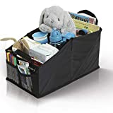 Leo&Ella Car Seat Storage Organizer for Front or Backseat - Fits All Road Trip Essentials for Adults & Kids - Collapsible 8 Compartment, Back Seats or Trunk Console for Toys, Games Box, Book or Document