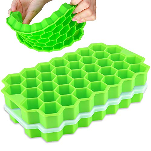 Ice Cube Trays,BomStar 2-Pack Silicone Ice Cube Trays with Lid Food Grade Silica Gel Flexible Spill-Resistant Removable Lid Ice Cube Trays for Chilled Drinks, Whiskey & Cocktails