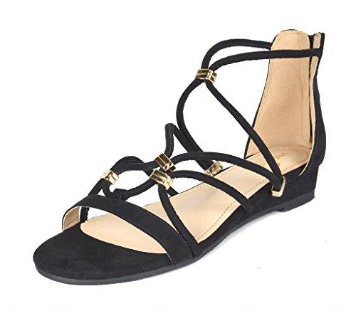 DREAM PAIRS Women's Formosa_2 Black Low Platform Wedges Ankle Strap Sandals Size 9 B(M) US