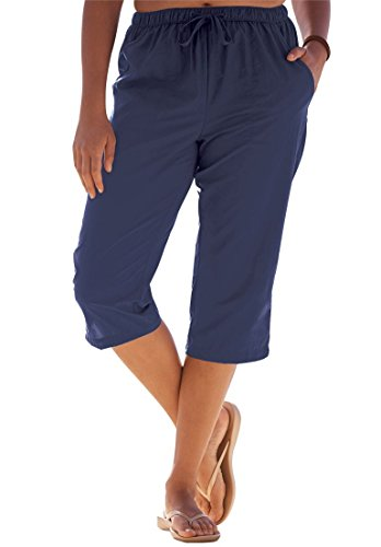 Roamans Women's Plus Size Swim Capris Navy,14/16 (Roamans Pant Suit Womens)