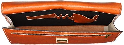 100 da Documenti Arancione Porta Italy Lavoro 38x27x7cm CTM in Made Vera Uomo Borsa Cartella Pelle vaSE4pH