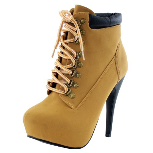 JJF Shoes Womens COMPOSE-01 High Heel Almond Toe Lace Up Ankle Booties Camel 6.5