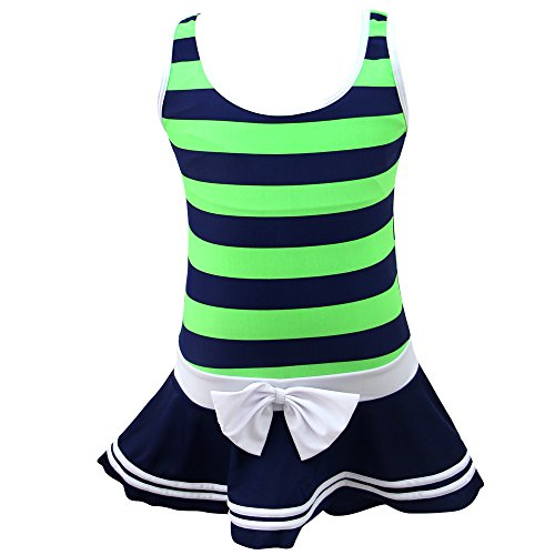 (QRH Big Girls Striped top with Skirt Shorts 1 Piece Swimsuit Navy and Green Size 16)