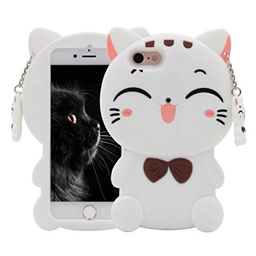 iPhone 4 4S Case,Awin 3D Lucky Fortune Cat with Cute Bow Tie Soft Silicone Rubber Case for iPhone 4 4S (White Fortune Cat)