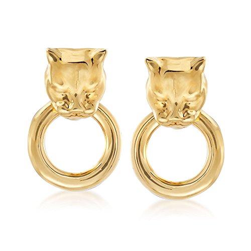 Ross-Simons Italian Andiamo 14kt Yellow Gold Panther Head Doorknocker Earrings