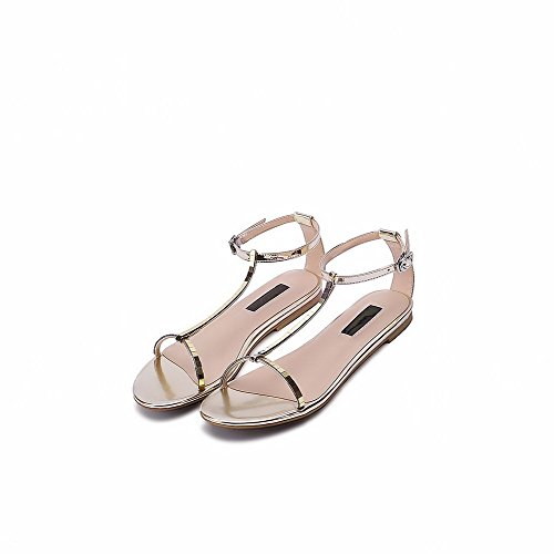 WeenFashion Toe Heel Solid Women's Leather No Patent Open Buckle Sandals Gold r8wrHqCf