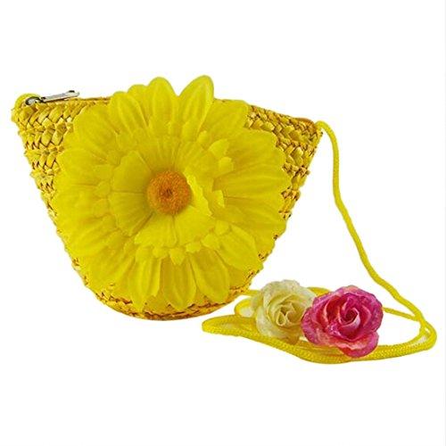 Hombro Paja Nuevas Crossbody Cremallera Amarillo Pequena De Mini Bolsos Tejida Mujeres Lindo Flores IzqwxBdxT