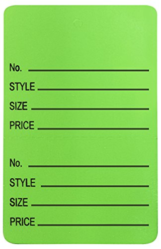 Amram 1.25 Inch x 1.875 Inch Unstrung Coupon Tags Perforated Printed with No.; Style; Size; Price 1000 Tags Green