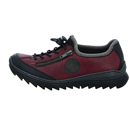 Rieker Women's M6269 Trainers, Schwarz/Wine/Dust, 3.5 UK Red