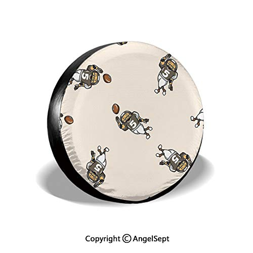 Spare Tire Cover,Pattern of Cartoon Player Running with The Ball Training for The Game Rugby Decorative,Taupe Brown White,for Jeep,Trailer, RV, SUV and Many Vehicle 14