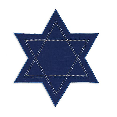 Star of David Navy Blue 19 x 19 Polyester Fabric Hanukkah Placemats Pack of 4 -
