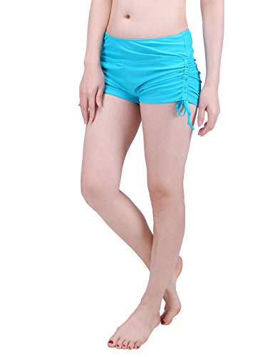 HDE Women Swim Brief with Ties, Mini Boy Short Bikini Bottoms Swimsuit Separates (Teal, X-Large)