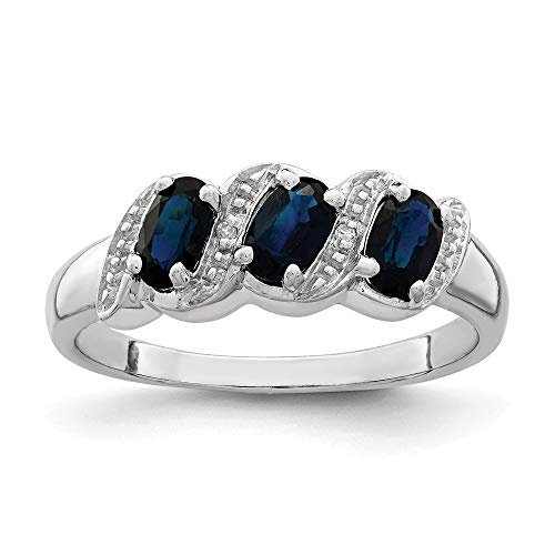 (925 Sterling Silver Sapphire Diamond Band Ring Size 7.00 Stone Gemstone Fine Jewelry Gifts For Women For Her)