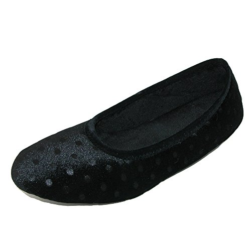 Mujer Stacie Velour Polka Dot Ballerina Slipper Negro