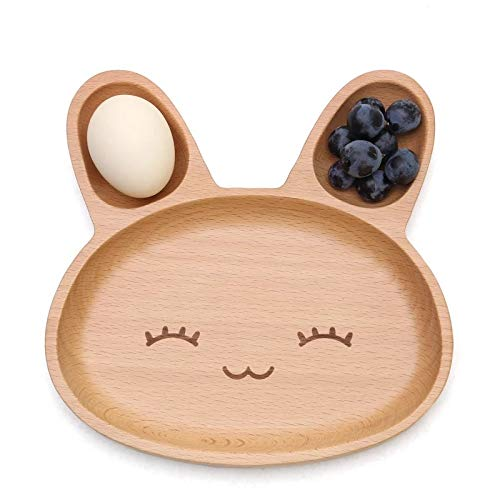 Gold Happy 19192cm Cute Rabbit Food Dish Wooden Appetizer Platter 3 Compartment Dinner Plate Tray Kawaii Bunny Elephant Food Dinner Plate -