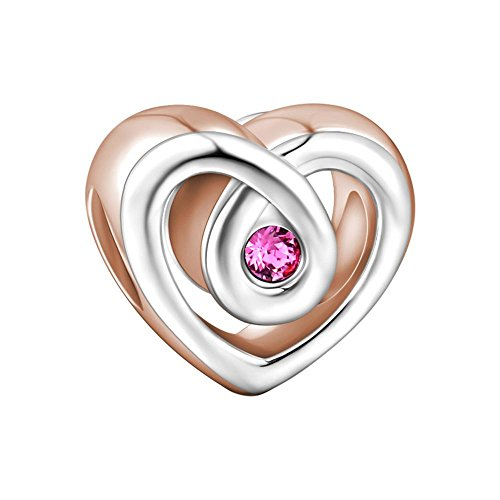SOUFEEL Tempting Heart Love Mom Charms 925 Sterling Silver Rose Golden Fit European Bracelets Best Giftss
