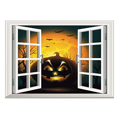 SCOCICI Window Frame Style Home Decor Art Removable Wall Sticker/Halloween,Fierce Character Evil Face Ominous Aggressive Pumpkin Full Moon Bats Decorative,Orange Dark Brown Black/Wall Sticker Mural
