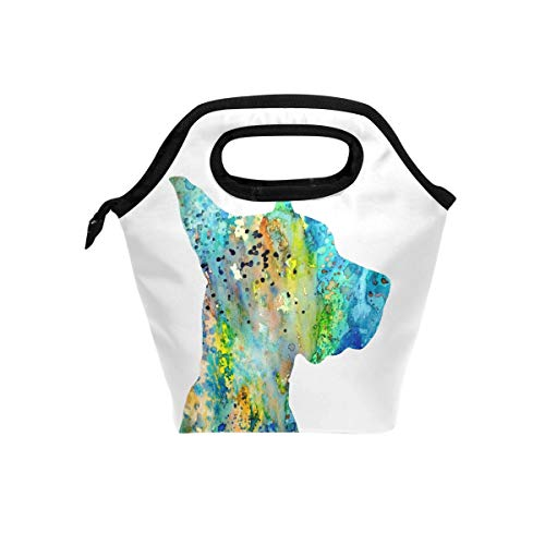 Lunch Tote Bag with Great Dane Watercolor Print- Insulated Reusable Lunch Box, BaLin Thermal Colder Lunchbox for School Work ()