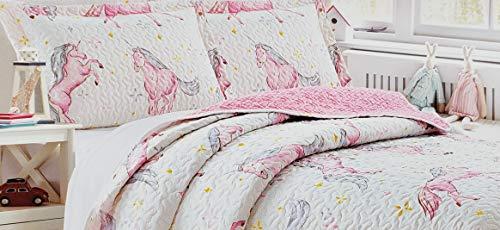 - Home & Main Kids 2 Piece Reversible Plush Quilt & Pillow Sham Set (Twin, Pink Unicorn)