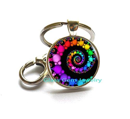 FIBONACCI Spiral Key Ring fractal Keychains Key Rings flourish swirls glass dome Keychain sacred geometry art picture jewelry,Q0282 ()