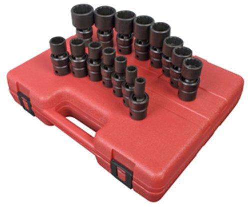 Sunex 2856 1/2-Inch Drive Universal 12-Point SAE Impact Socket Set, 15 Piece 1/2' Drive 12 Point Socket