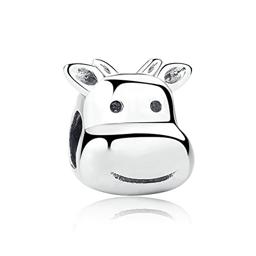 Lucky Animals Head Charm Authentic 925 Sterling Silver Pet Charms for European Bracelet (cow)