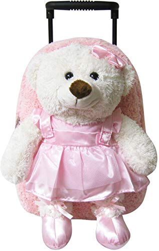 Kreative Kids Plush Rolling Backpack Ballet Bear, Pink