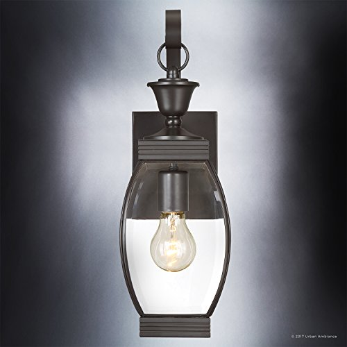 Luxury Colonial Outdoor Wall Light, Medium Size: 17''H x 5.5''W, with Transitional Style Elements, Bowed Design, Gorgeous Dark Medieval Bronze Finish and Beveled Glass, UQL1170 by Urban Ambiance by Urban Ambiance (Image #4)