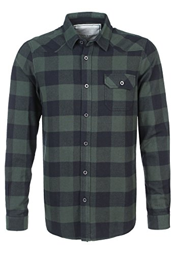 Urban Surface Herren Flanellhemd langarm kariert | Business- & Freizeithemd aus Baumwolle Regular fit dark-green XL