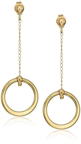 18k Yellow Gold Circle Dangle Earrings