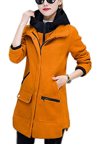 Casual piel lana abrigo abrigos de la mujer con bolsillos Yellow