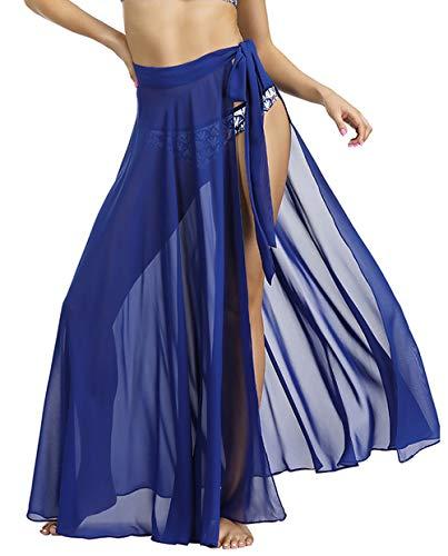 Changuan Beach Skirts for Women Swimsuit Cover Up Sarong Swimwear Bikini Wrap Maxi Skirt Royal Blue Small/Medium (Royal Bikini)