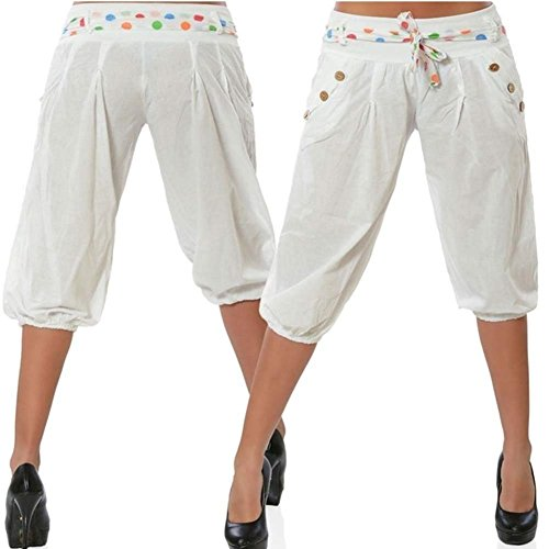 Bianca Accogliente Swag 3 Festa Primaverile Tasche Pantaloni Baggy Monocromo Estivi 4 Tempo Donna Harem Moda Eleganti Style Libero Taille Cintura Nahen Streetwear Inclusa Con Pantalone wHPSqnP