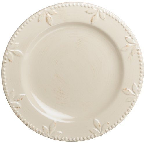 Signature Housewares Sorrento Collection 11-Inch Dinner Plates, Ivory Antiqued Finish, Set of 6 Italian Countryside Accent Plate