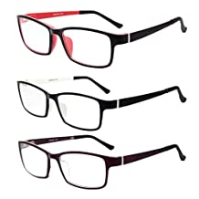 LIANSAN Designer Glasses Frames Optical Eyeglasses no-prescription Square Shapes for Men Women TR8630 3 packs
