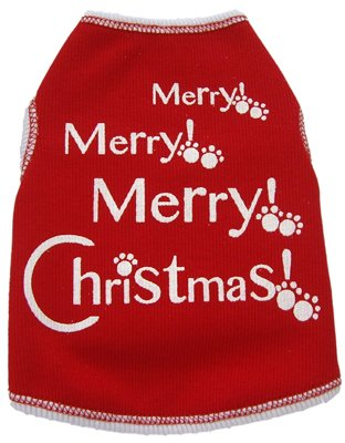 I See Spot's Dog Pet Cotton T-Shirt Tank, Merry, Merry, Merry Christmas, X-Small, Red, My Pet Supplies