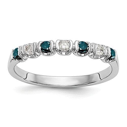 JewelrySuperMart Collection 1/4 CT 14k White Gold Blue & White Round Diamond Band. 0.25 ctw. ()