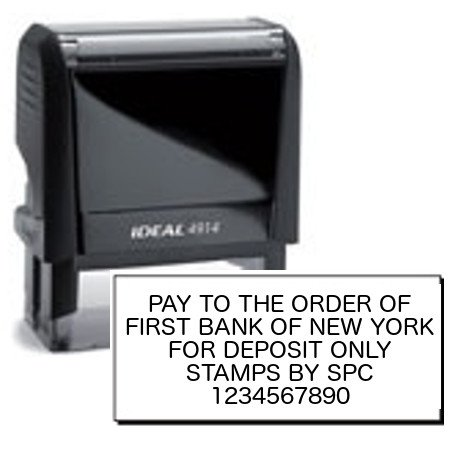 Stamps By SPC // STANDARD // Custom Company/Business Bank Endorsement (Deposit) Stamp // Ideal Self-Inking Stamp // Impression: 1' x 2 1/2'// Available In 8 Vibrant Colors Of Ink!